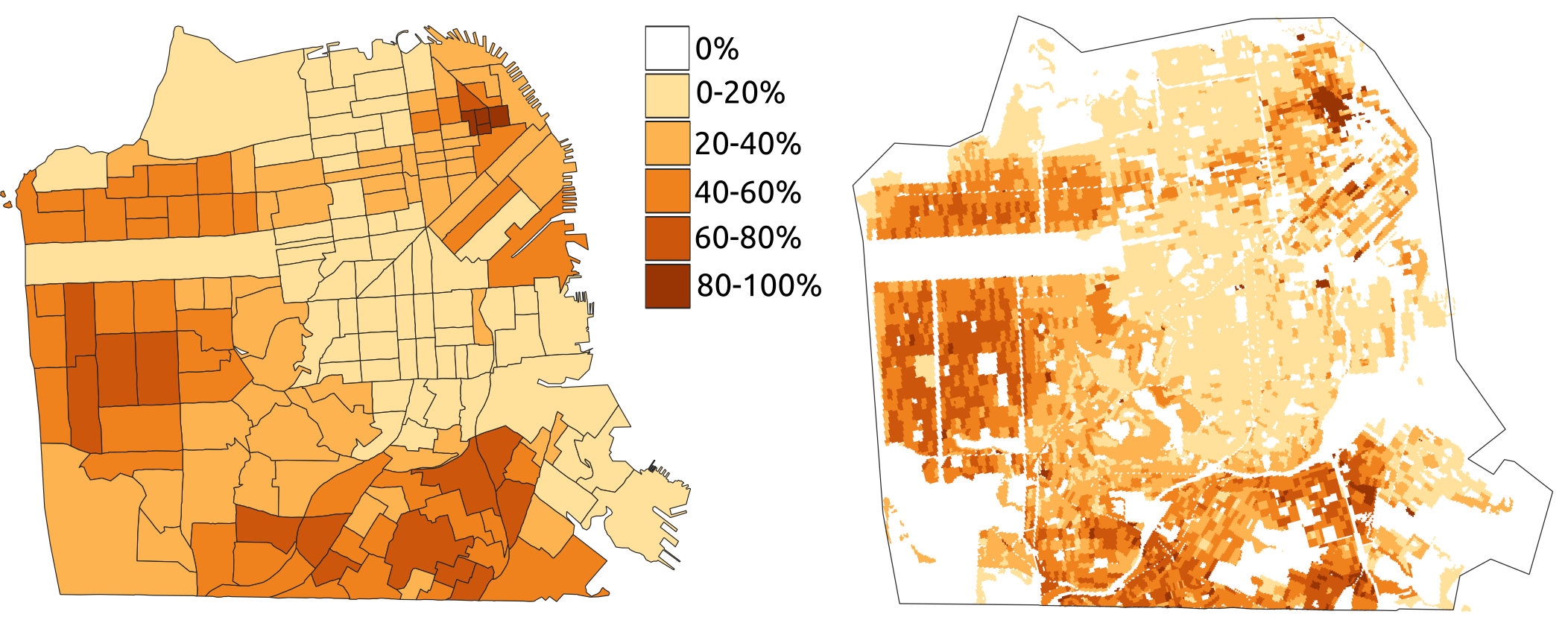 Example of  percent maps (census-based on the left and grid-based on the right)